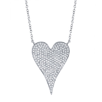 14K White Gold Diamond Heart Necklace (Large)