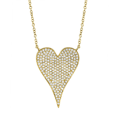 14K Yellow Gold Diamond Heart Necklace (Large)