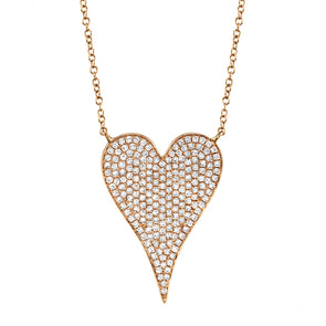 14K Rose Gold Diamond Heart Necklace (Large)