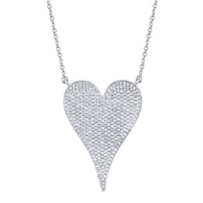 14K White Gold Pave Heart Necklace (Jumbo)