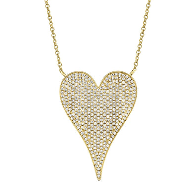 14K Yellow Gold Pave Heart Necklace (Jumbo)