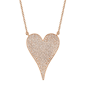 14K Rose Gold Pave Heart Necklace (Jumbo)