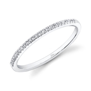 14K White Gold Diamond Thin Half-Way Band