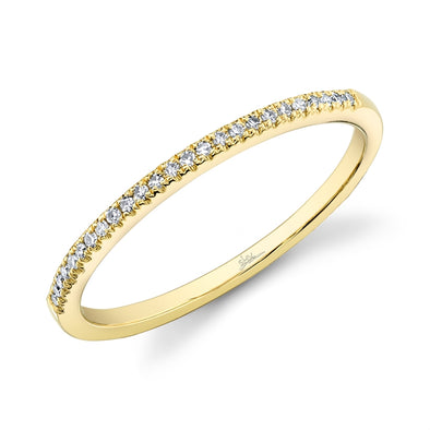 14K Yellow Gold Diamond Thin Half-Way Band