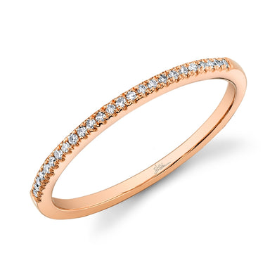 14K Rose Gold Diamond Thin Half-Way Band