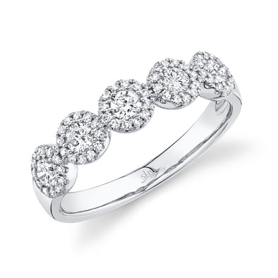 14K White Gold Diamond Halo Medium Band