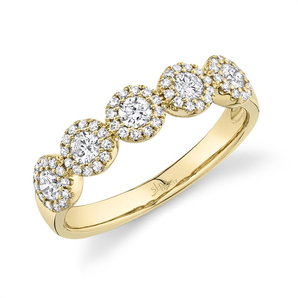 14K Yellow Gold Diamond Halo Medium Band