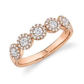 14K Rose Gold Diamond Halo Medium Band