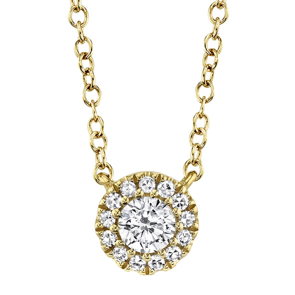 14k Yellow Diamond Halo Solitaire Necklace