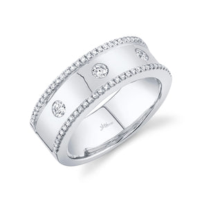 14K White Gold Diamond High Polished Band
