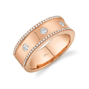 14K Rose Gold Diamond High Polished Band