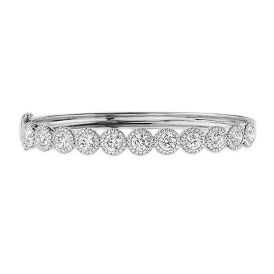 14K White Gold Diamond Halo Hinged Bangle (Large)