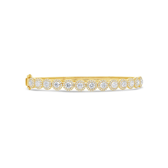 14K Yellow Gold Diamond Bangle (Medium)