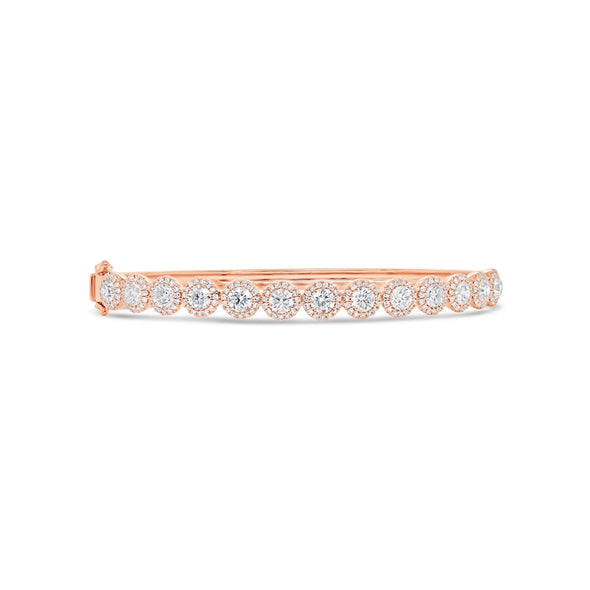 14K Rose Gold Diamond Bangle (Medium)