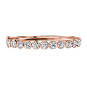 14K Rose Gold Diamond Halo Hinged Bangle (Large)