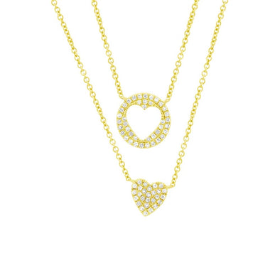 14K Yellow Gold Diamond Double Heart Necklace