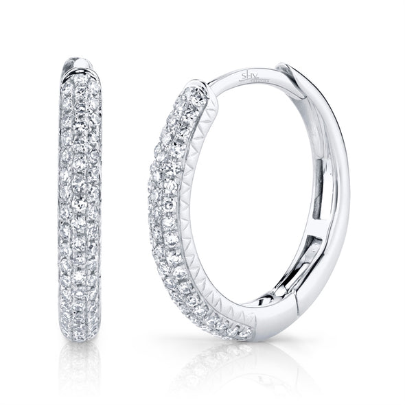 14K White Gold Diamond Pave Hoop Earrings