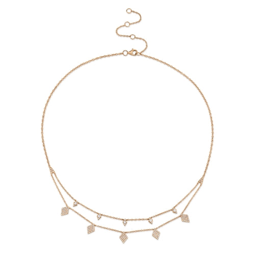 14K Rose Gold Diamond Charm Double Row Necklace