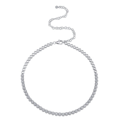 14K White Gold Halo Diamond Choker Tennis Necklace