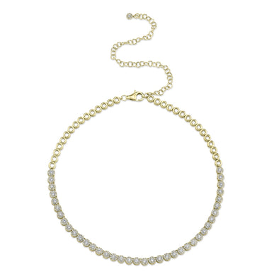 14K Yellow Gold Halo Diamond Choker Tennis Necklace