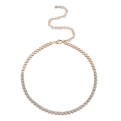 14K Rose Gold Halo Diamond Choker Tennis Necklace