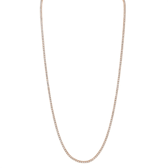 14K Rose Gold Diamond Tennis Necklace