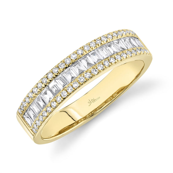 14K Rose Gold Diamond Baguette Medium Band