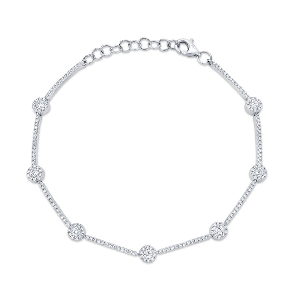 14K White Gold Diamond Halo Bracelet
