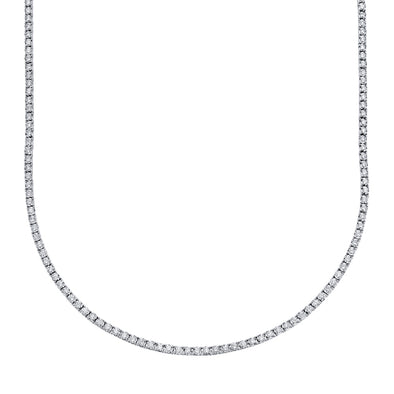 14K White Gold Diamond Small Tennis Necklace