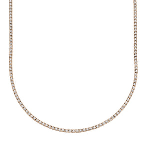 14K Rose Gold Diamond Small Tennis Necklace