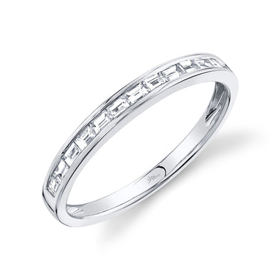 14K White Gold Diamond Baguette Thin Band