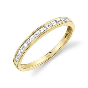 14K Yellow Gold Diamond Baguette Thin Band