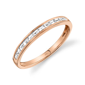 14K Rose Gold Diamond Baguette Thin Band