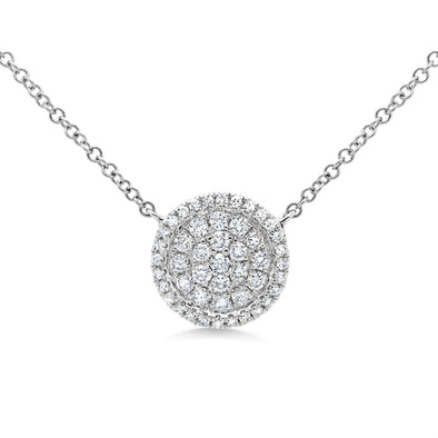 14k White Diamond Pave Circle Necklace