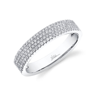 14K White Gold Four Row Diamond Pave Band