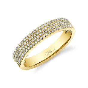 14K Yellow Gold Four Row Diamond Pave Band