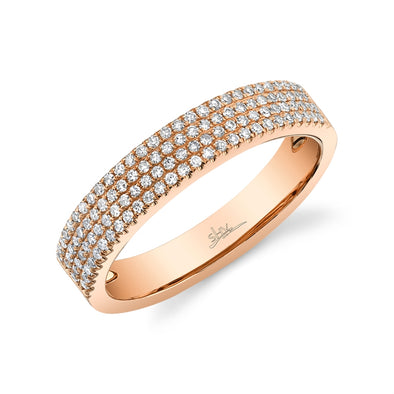 14K Rose Gold Four Row Diamond Pave Band
