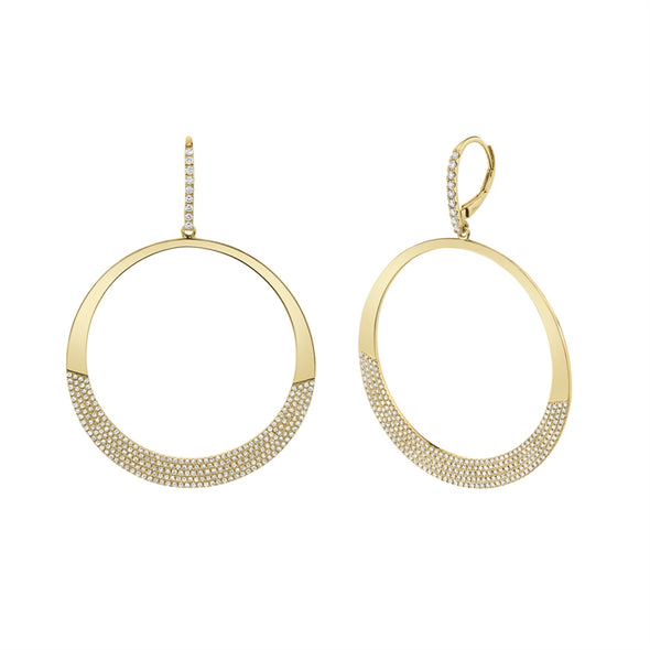 14K White Gold Diamond Pave Circle Earrings