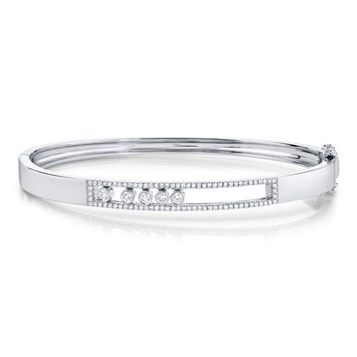 14K White Gold Diamond Slider Bangle