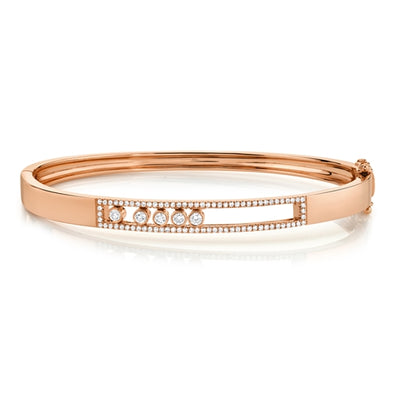14K Rose Gold Diamond Slider Bangle