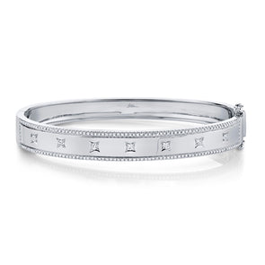 14K White Gold Diamond Border + Square Accent Wide Bangle