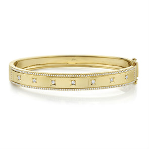 14K Yellow Gold Diamond Border + Square Accent Wide Bangle