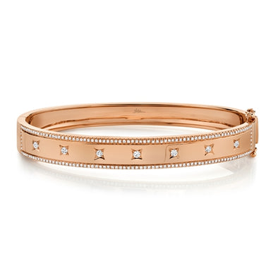 14K Rose Gold Diamond Border + Square Accent Wide Bangle