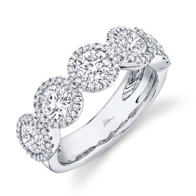 14K White Gold Round + Halo Diamond Large Band