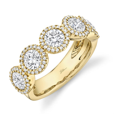 14K Yellow Gold Round + Halo Diamond Large Band