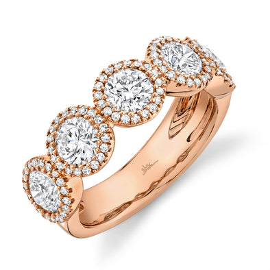14K Rose Gold Round + Halo Diamond Large Band