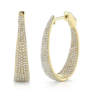 14K Yellow Gold Diamond Oval Graduating Hoops