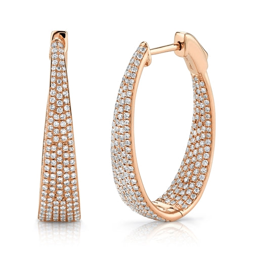 14K Rose Gold Diamond Oval Graduating Hoops