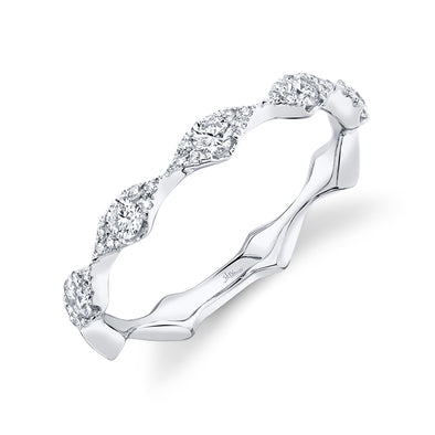 14K White Gold Diamond Free Form Band