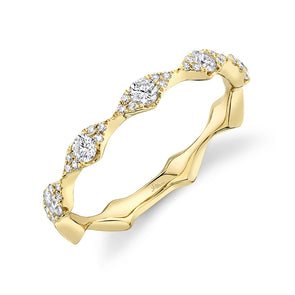 14K Yellow Gold Diamond Free Form Band
